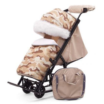 Санки-коляски Pikate Military «Бежевый» (материал «Dewspoo» плотностью 240 D, овчина, 3 положения спинки, краска рамы темно-серый)